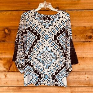 Alfani pattern blouse with lace flare sleeves